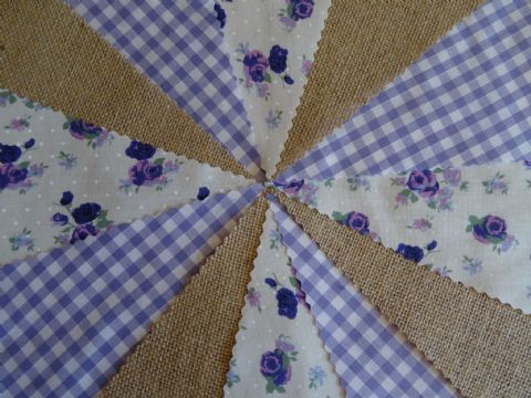 BUNTING - Hessian Burlap - Lilac Gingham - Purple & Lilac Roses - 10m/32ft
